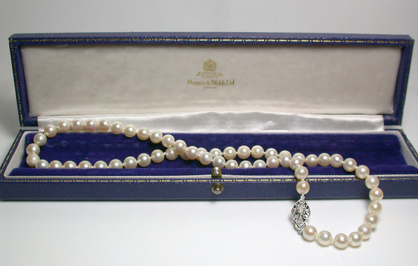 Vintage 7-7.5mm pale golden Akoya pearl necklace & white gold diamond clasp
