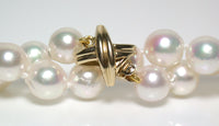 7.5-8mm baroque Akoya pearl necklace with 9ct gold Tiffany X style clasp