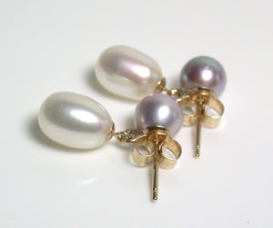 7x9mm & 6.5mm white & lavender pearl & 9 carat gold earrings