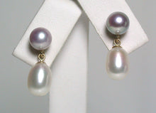 Load image into Gallery viewer, 7x9mm & 6.5mm white & lavender pearl & 9 carat gold earrings
