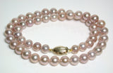 8-8.5mm pink-gold pearl & 9 carat gold necklace