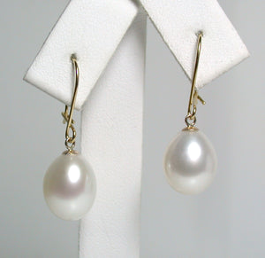 9.5x12mm white pearl & 18 carat gold earrings