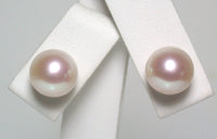 9mm metallic rose-white pearl & 18 carat gold earrings