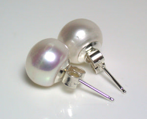 Special Offier 10mm metallic white freshwater pearl & sterling silver earrings