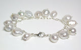 10-12mm AA++ baroque South Sea saltwater pearl & sterling silver charm bracelet