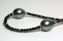 Load image into Gallery viewer, 9.5x12mm Tahitian pearl, spinel & sterling silver necklace