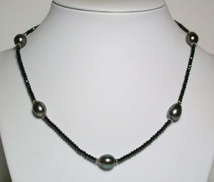 9.5x12mm Tahitian pearl, spinel & sterling silver necklace