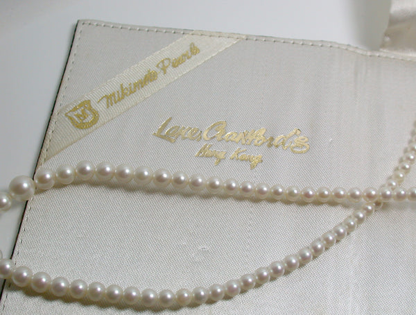 8868a690d3719 Vintage Mikimoto cultured Akoya pearl & 10ct white gold necklace in ...