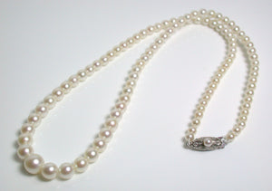 Vintage Mikimoto cultured Akoya pearl & 10ct white gold necklace in original box