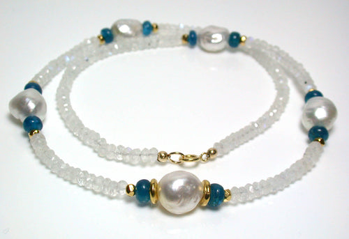 11mm South Sea pearls, apatite, moonstone & gold vermeil necklace