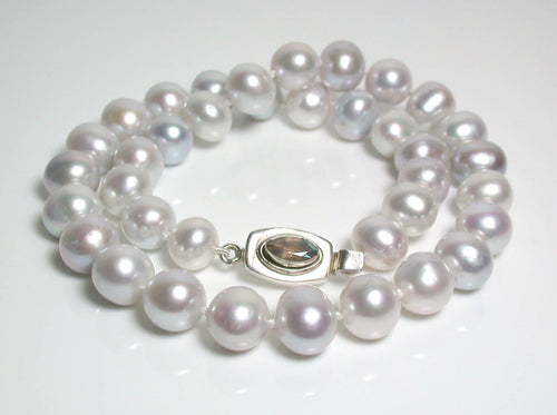 11mm platinum grey pearl and sterling silver necklace
