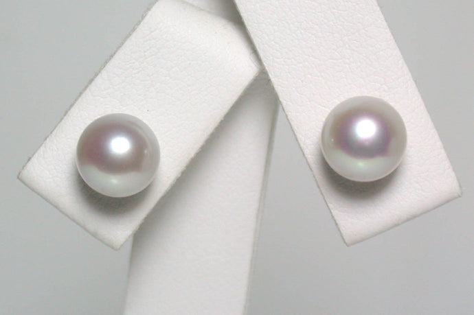 7-7.5mm natural-silver Japanese Akoya pearl & 9 carat gold earrings