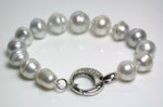 10-14mm silver South Sea & sterling silver bracelet