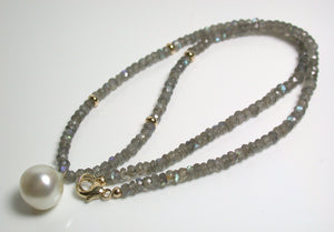 13x15mm South Sea pearl, labradorite & 9ct gold necklace