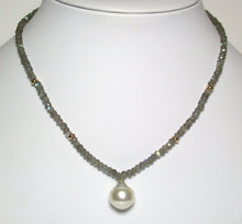 Load image into Gallery viewer, 13x15mm South Sea pearl, labradorite & 9ct gold necklace
