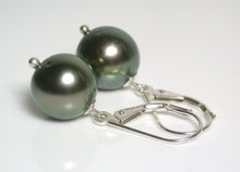 Load image into Gallery viewer, 10mm peacock Tahitian pearl & sterling silver earrings