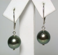 10mm peacock Tahitian pearl & sterling silver earrings