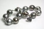 10.5-12mm peacock grey Tahitian pearl & sterling silver bracelet