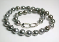 10x11.5mm Tahitian pearl & sterling silver necklace
