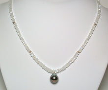 Load image into Gallery viewer, 12mm Tahitian pearl, moonstone & 9ct gold necklace