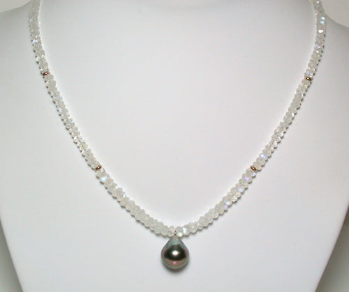 12mm Tahitian pearl, moonstone & 9ct gold necklace