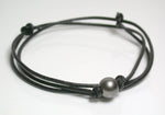10.1mm round slate grey Tahitian pearl & leather necklace