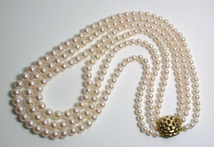 Vintage triple 4-7.5mm Akoya saltwater pearl & 9 carat gold necklace
