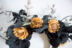 RTS - Sunflower Black Floral Ears