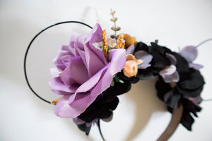 RTS - Black and Purple Floral Ears