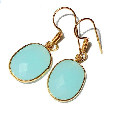 Gold-overlay Aqua Onyx Quartz Earrings