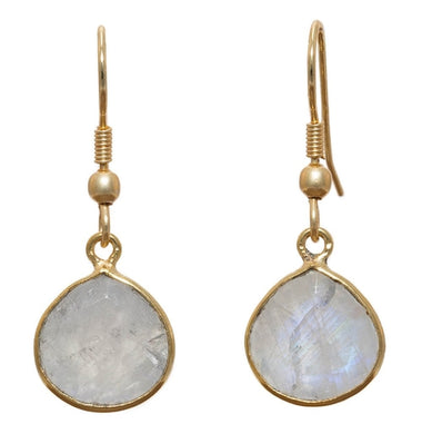 Gold-overlay Rainbow Moonstone Earrings