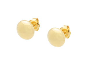 Golden Flat Ball Stud Earrings (Mirror Finish)