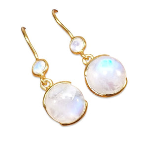 Gold-overlay Sterling Silver Rainbow Moonstone