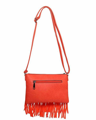 Double Fringe Studded Orange Shoulder Bag