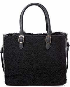 Faux Shearling Black Handbag