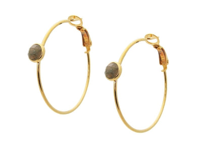 Labradorite Hoop Earrings, 1.25