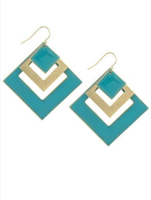 Teal & Gold Geometric Gold Filled Hook Earrings