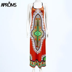Women Casual Halter Neck Dashiki .