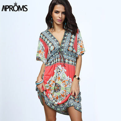 Women Dress Sexy Loose Sundresses Deep V Neck Dashiki.