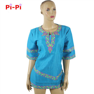 African dashiki short - sleeved short skirt natural linen.
