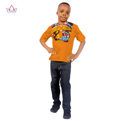 African Dashiki Print Kids Clothing Short Sleeves Shirt.