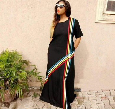 African dashiki woman dress rainbow stripe stitching pocket.