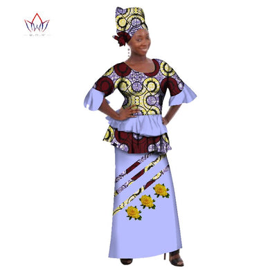 African Dashiki for women o-neck Skirt Set natural.