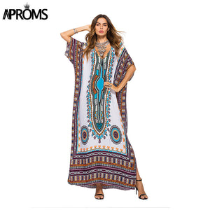 African Kaftan Dresses for Women Summer Ethnic Dashiki Dress.