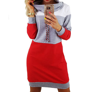 Women Striped Patchwork Female Pullover  Hooded Dress.