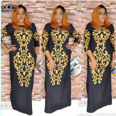 New African Dashiki Gold Super Size Loose Dress For Lady