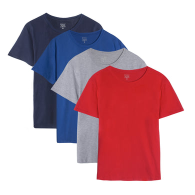 Men's Short Sleeve Plain Cotton T-Shirts (Pack of 4) Red/Light Steel/Navy Blue/Royal Blue