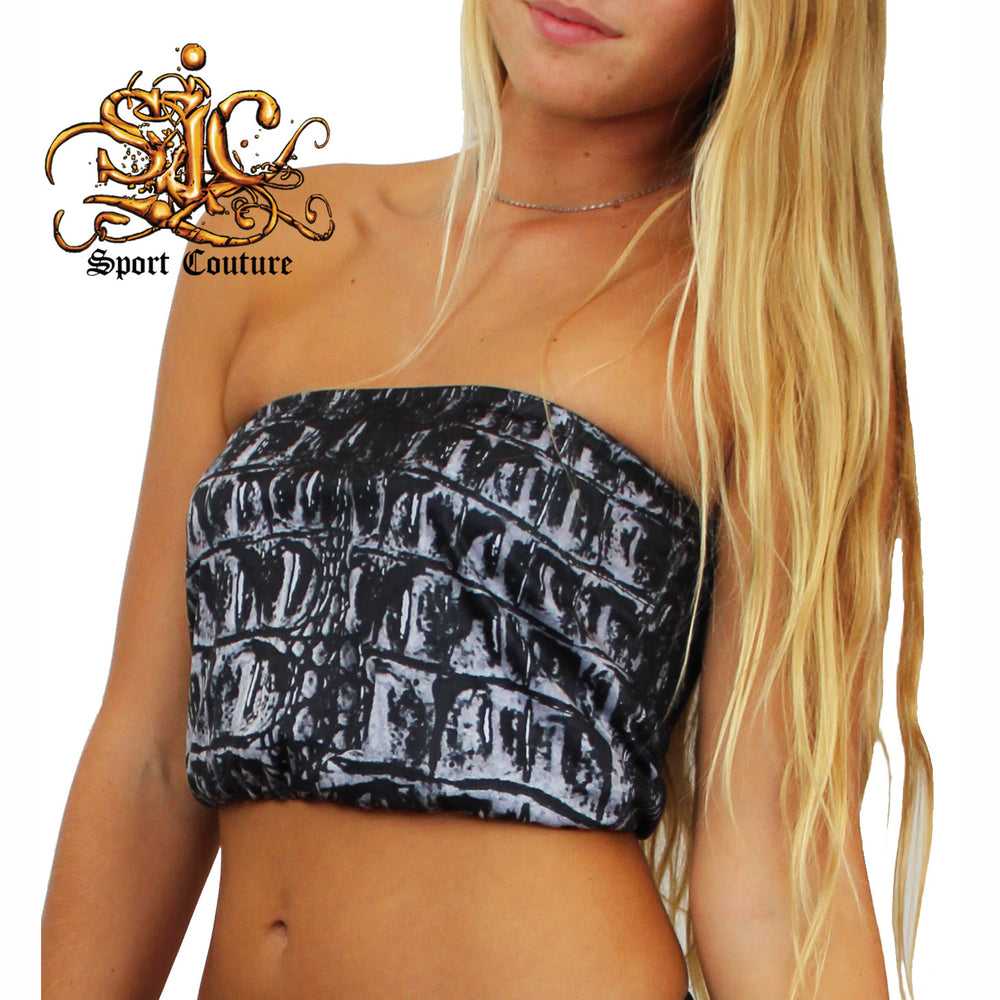 Reversible Bandeau in Night Gator / Black