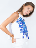Demi Top White with Midnight Sun Spot Design