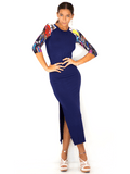 Dress No. 5 in Navy with Butterfly Sleeves